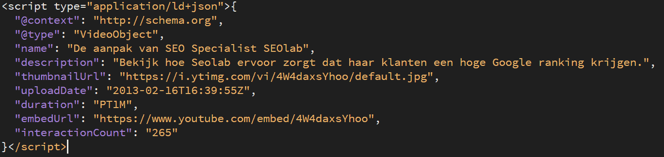 Video rich snippet json voorbeeld